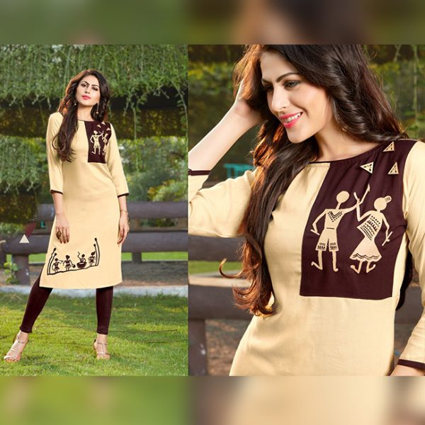 Beige Colored Kurti For Women - FG1037