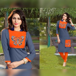 Bluish Gray Colored Kurti For Women - FG1038