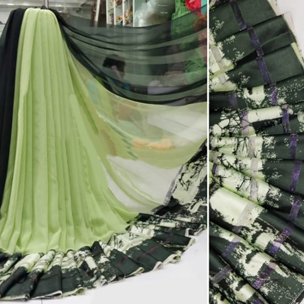 Light Green Colored Beautiful Sari - FB4013