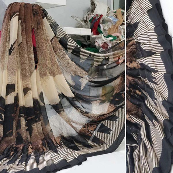 Beige Black Colored Beautiful Sari - FB4024