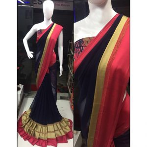 Black Red Colored Beautiful Sari - FB4025