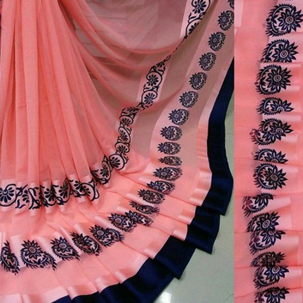 Peach Black Colored Beautiful Sari - FB4026