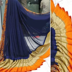 Blue Orange Colored Beautiful Sari - FB4027