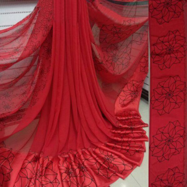 Red Beautiful Sari For Women - FB4028