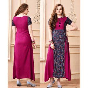 Fuchsia Colored Beautiful Gown - FB4059