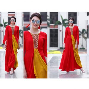 Red Yellow Colored Beautiful Gown-FB4061