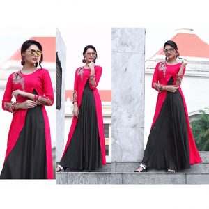 Magenta Black Beautiful Long Dress - FB4062