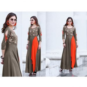 Dark Beige Beautiful Long Dress - FB4063