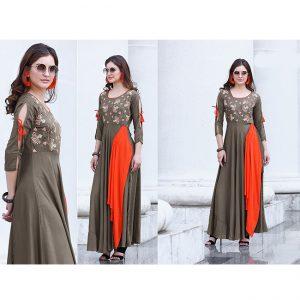Dark Beige Beautiful Long Dress - FB4063