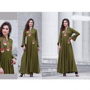 Army Green Beautiful Long Dress - FB4066