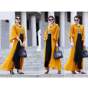 Yellow Black Beautiful Long Dress - FB4068