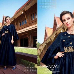 Navy Blue Ready Made Long Kurti -FB4070
