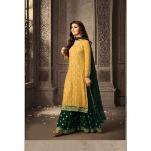 Yellow Dark Green Semi Stitched Salwar Suit-FB4073