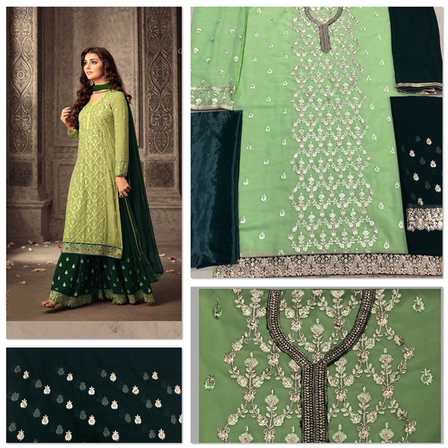Light Green And Dark Green Colored Beautiful Georgette Semi Stitched