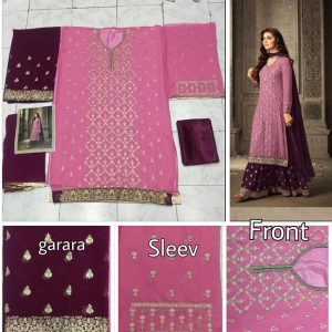 Pink Purple Semi Stitched Salwar Suit-FB4076