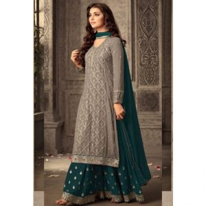 Brown Teal Green Semi Stitched Salwar Suit-FB4077