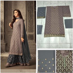 Brown&Gray Semi Stitched Salwar Suit - FB4078