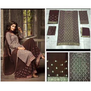 Brown Dark Brown Semi Stitched Salwar Suit - FB4079