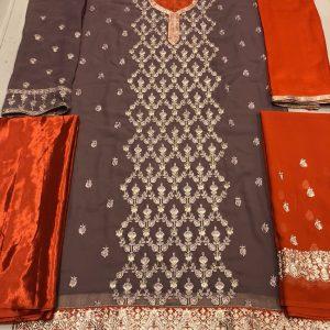 Brown&Orange Semi Stitched Salwar Suit - FB4080
