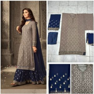 Brown&Blue Semi Stitched Salwar Suit - FB4081