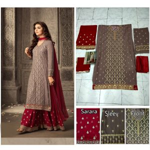 Brown&Red Semi Stitched Salwar Suit - FB4082