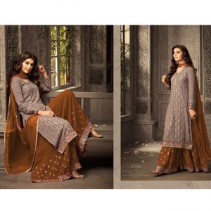 Brown Light Brown Semi Stitched Salwar Suit - FB4083