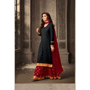 Black&Red Semi Stitched Salwar Suit-FB4084