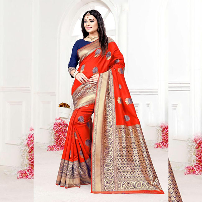 58f0714088 Red Colored Banarasi Silk Meenakari Saree With Heavy Rich Pallu – FG2085