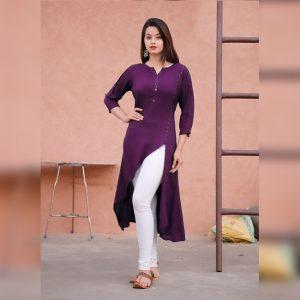 Rayon Designer Kurti - FB4086  Purple