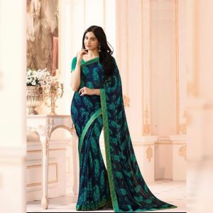 Green Printed Georgette Saree - MPP1020