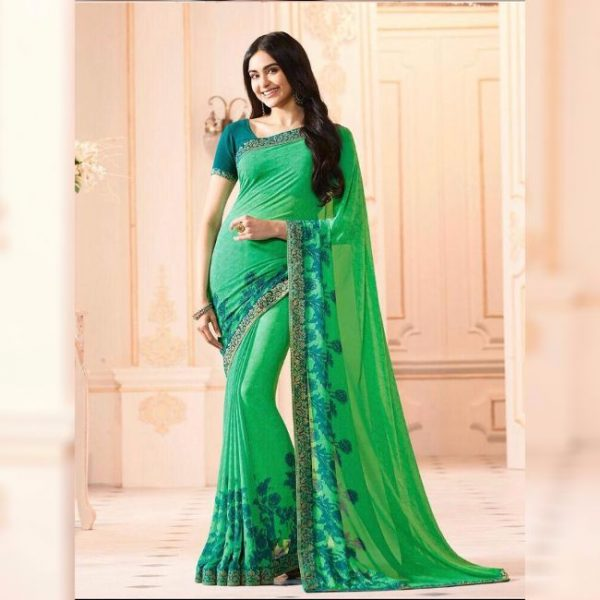 Light Green Printed Georgette Saree - MPP1020