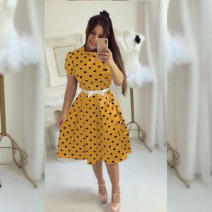 Yellow Imported Ruby Short Dress - MPP1001