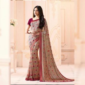 Beige Printed Georgette Saree - MPP1020