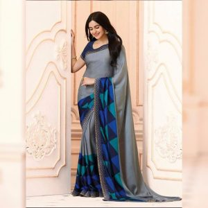 Gray Printed Georgette Saree - MPP1020