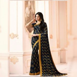 Navy Printed Georgette Saree - MPP1020