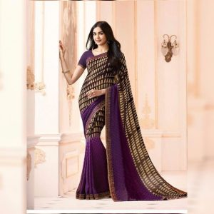 Purple Printed Georgette Saree - MPP1020
