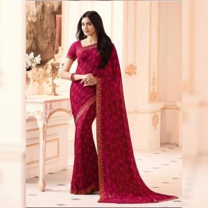 Red Printed Georgette Saree - MPP1020