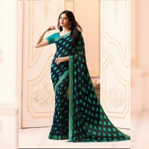 Sea Green Printed Georgette Saree - MPP1020