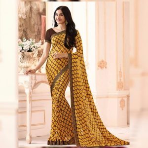 Yellow Printed Georgette Saree - MPP1020