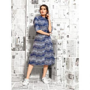 Gray&Blue Printed Cotton Kurtis - MPP1022