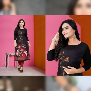 CC-02 Black Cotton Crepe Kurti - CZ1005