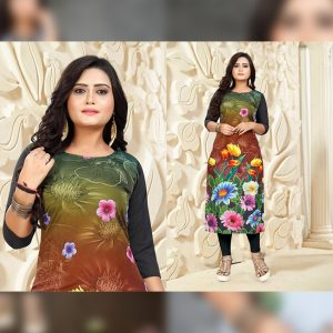 CC-05 Green Cotton Crepe Kurti - CZ1005