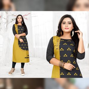 CC-06 Black Cotton Crepe Kurti - CZ1005