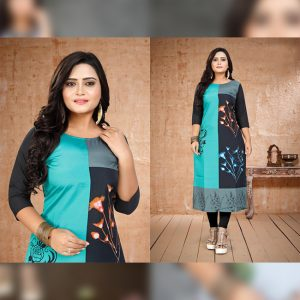CC-08 Black Cotton Crepe Kurti - CZ1005