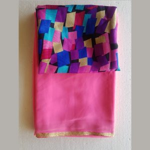CC-14 Pink Colore Georgette Saree – MPP1074