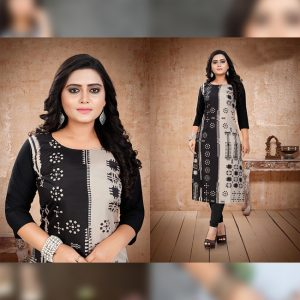 CC-15 Black Cotton Crepe Kurti - CZ1005