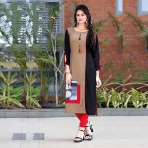 Brown & Black Colored Kurti For Women - FG1021