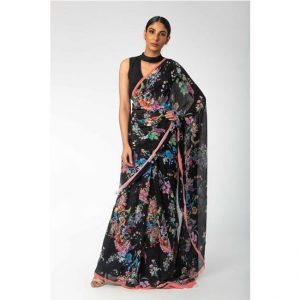 CC-08 Black Soft Chiffon Saree – MPP1101