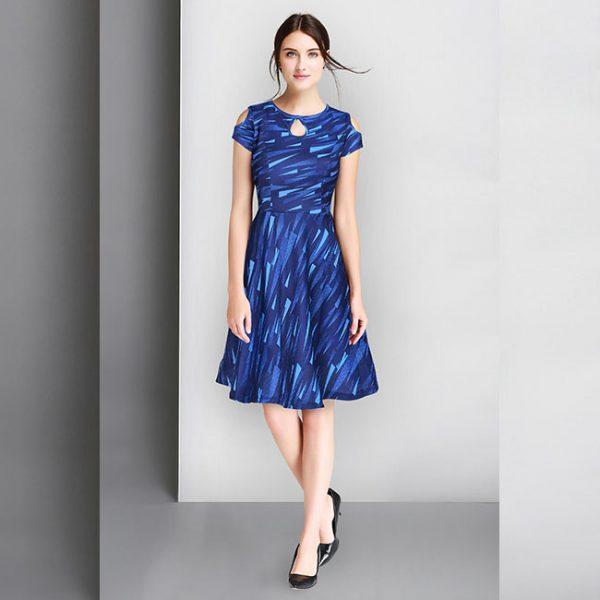 CC-04Blue Stretchable Knitting Short Dress–MPP1125
