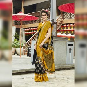 Black Linen Jute Silk Saree - MPP1133